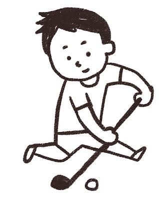 ホッケーの選手のイラスト(スポーツ) モノクロ線画