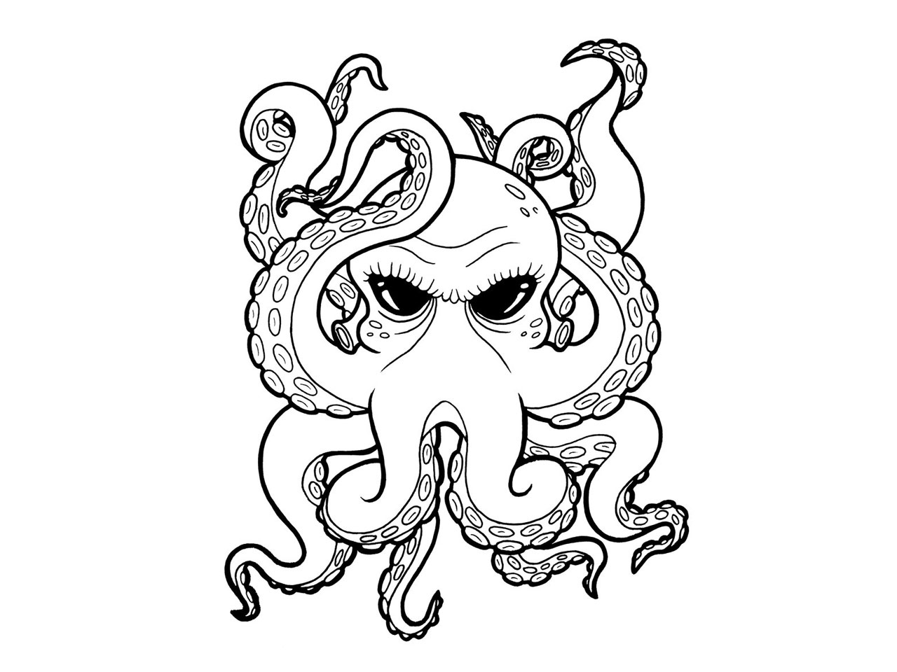 Cartoon black eyes octopus tattoo tattoo design ideas for Octopus drawing easy