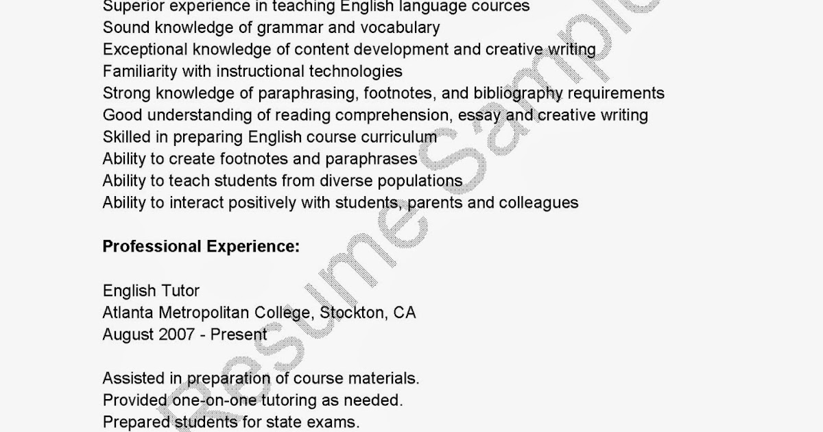 resume samples  english tutor resume sample