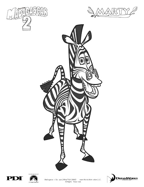 Marty the Zebra From Madagascar Coloring Pages