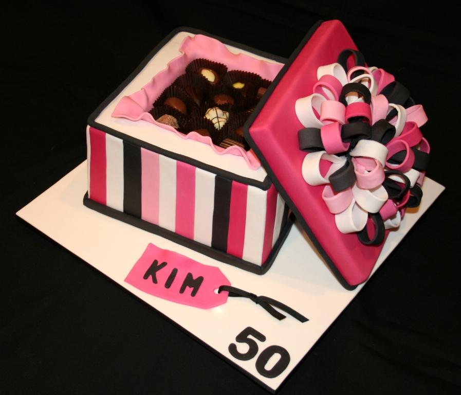 Leonies cakes and parties chocolate gift box 50th chocolate gift box 50th birthday cake negle Images