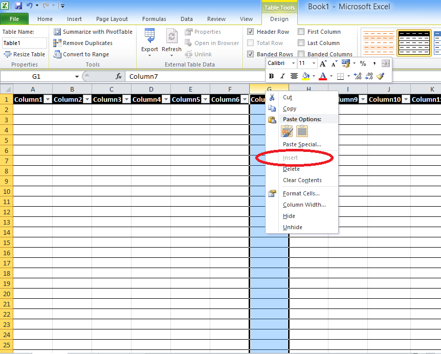 Bryan 39 s blah blah blahg can 39 t add rows or columns in excel after format as table - How to add a column in a table ...