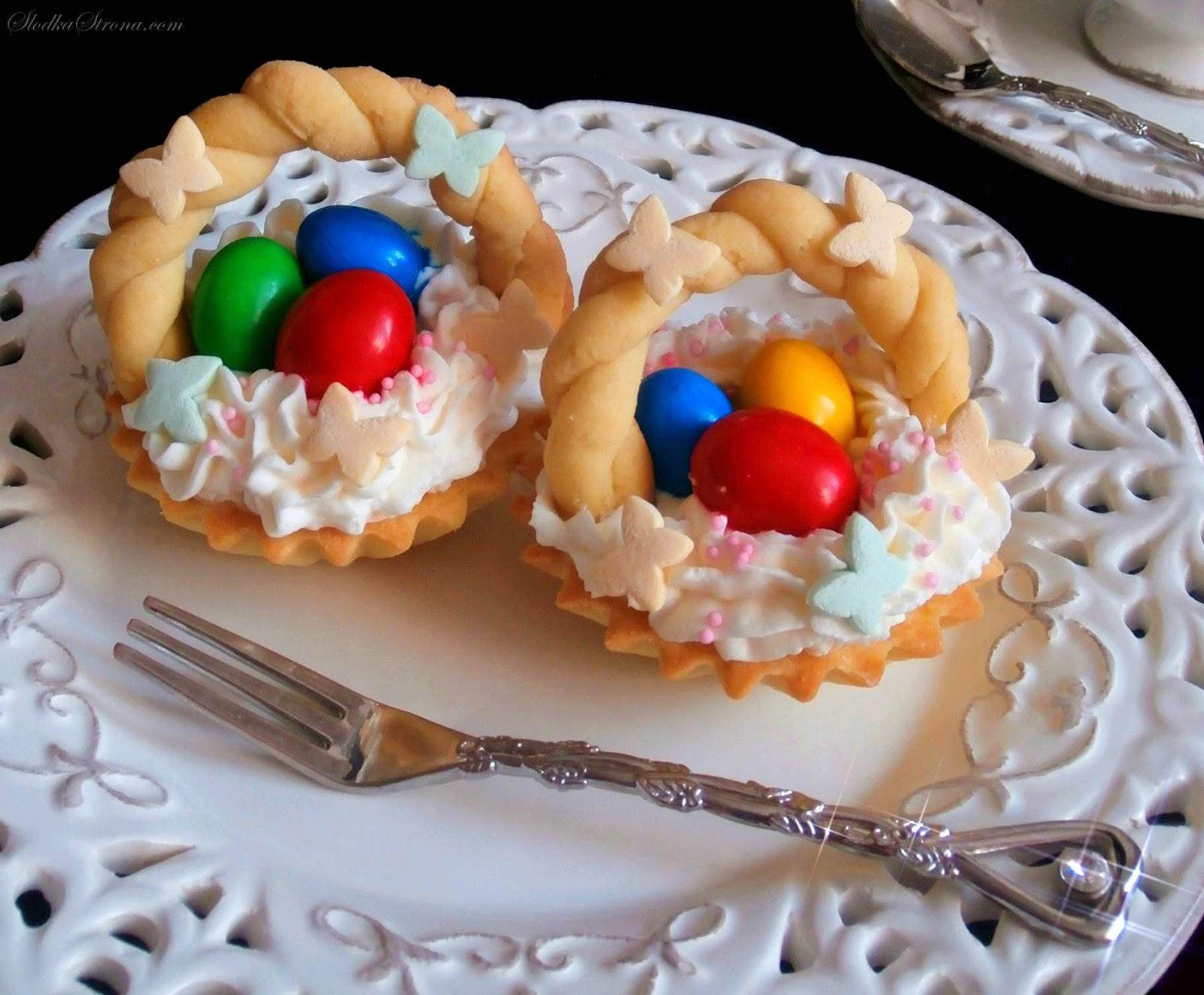 Wielkanocne Kruche Babeczki - Koszyczki z Jajeczkami - Przepis - Słodka Strona