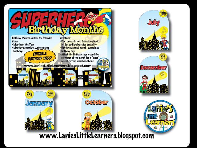 Birthday Months {Superhero Theme}