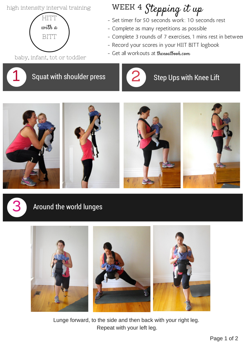 Working out with your baby HIIT with a BITT Week 4 photo guide