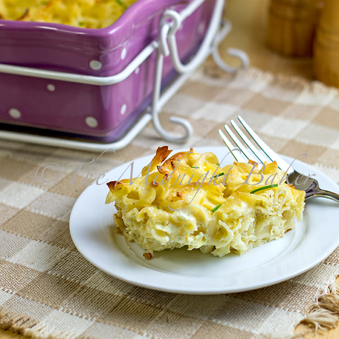 Three Cheese Noodle Pudding: Meatless Mondays - The Midnight Baker