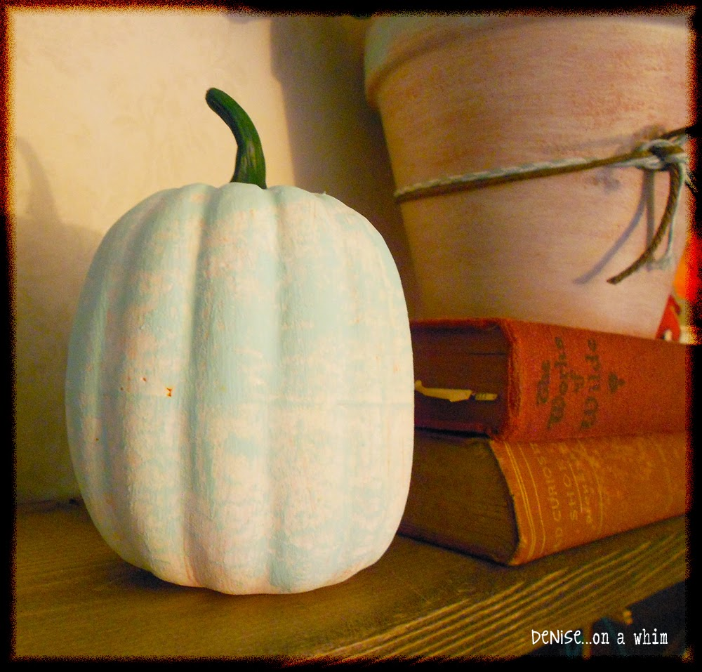 Painted Dollar Store Pumpkin in a Fall Vignette from Denise on a Whim