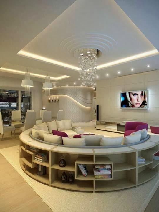 Case di lusso soggiorno extra lusso - Divano al centro della stanza ...