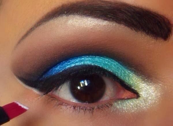 maquiagem azul , makeup , tutorial maquiagem , tutorial, passo a passo , kiko make up milano , nyx, shirley medeiros , super presumida, delineador preto , sombra azul , sombra perola
