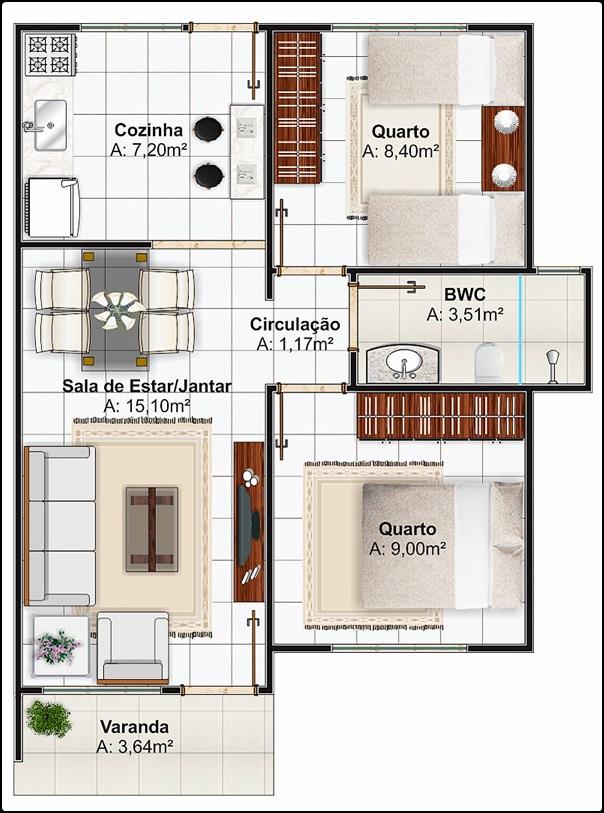 Plantas de casas populares pequenas confort veis e bem for Casa moderna revit