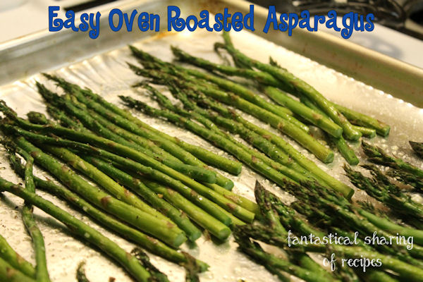 Easy Oven Roasted Asparagus - four ingredients and very little time to a great side dish #vegetables #recipe