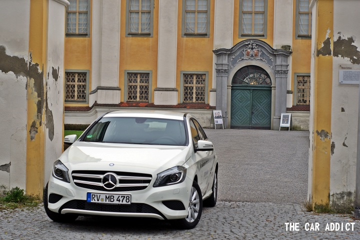 white Mercedes-Benz A-Class in front of the old castle in Tettnang