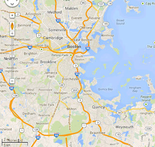 map of greater Boston area, including Braintree