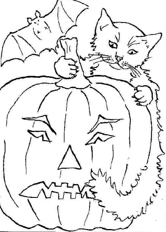 cat and pumpkin coloring pages - photo#21