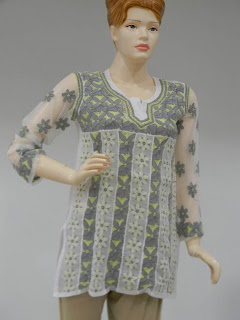 Lucknowi Chikan Multicoloured Georgette Short Kurta