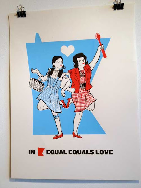 Illustrated poster showing Dorothy from the Wizard of Oz dancing arm-in-arm with a butch-looking woman