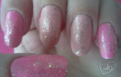 Pink Barbie Glitter Gel Nail Design