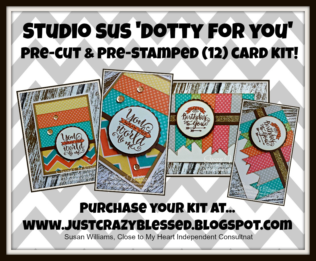 'Dotty For You' Pre-Cut & Pre-Stamped (12) Card Kit!