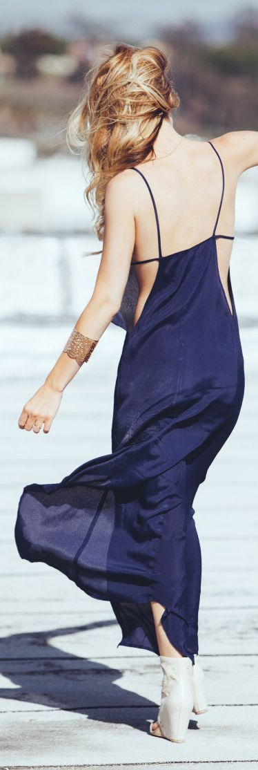 Navy Chiffon Strappy Back Maxi Dress #summerqueen