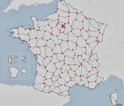 Présentation des points noeuds des départements de la France