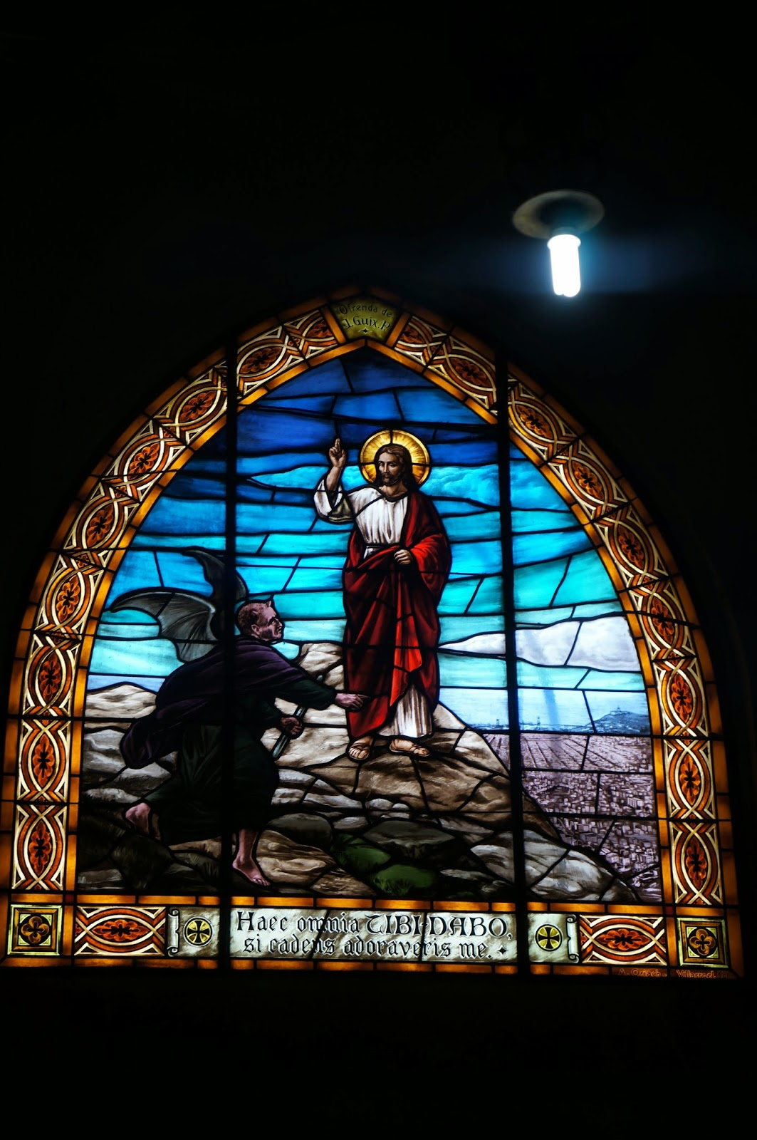 Stained glass window from the Sagrat Cor cathedral in the Tibidabo area