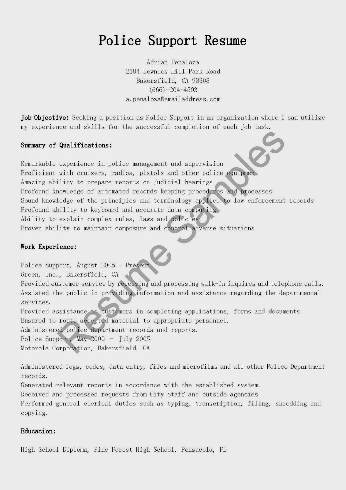 Resume Samples Police Support Resume Sample