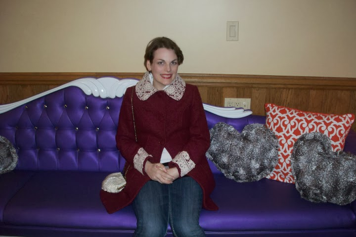 Retro Suites, lobby, purple couch, Chatham Ontario, tourist attraction, Suzanne Amlin, A Coin For the Well, Miss Patina, coat, outerwear, Modcloth, modcloth.com, Mulberry Scones Coat, vintage purse, lace coat, purple coat, A Coin For the Well, Suzanne Amlin, Windsor Ontario fashion blogger, style blog
