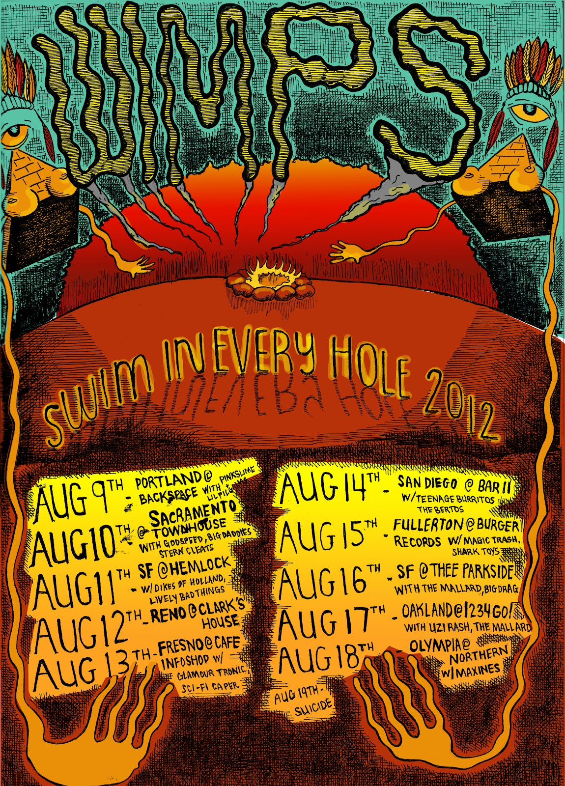 Wimps - Swim in Every Hole 2012 Tour Poster