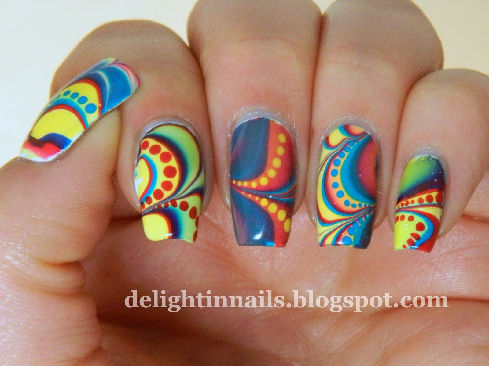 Tri Polish Red Yellow Blue Watermarble
