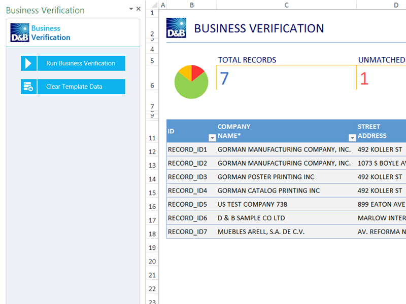 Business verification database, Excel