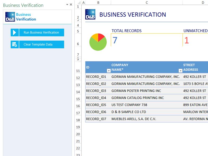 Business verification database, Excel