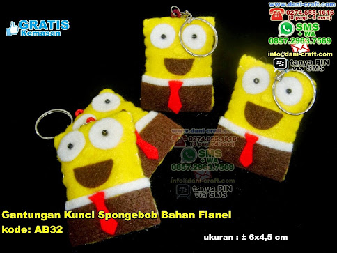 Gantungan Kunci Spongebob Bahan Flanel Flanel
