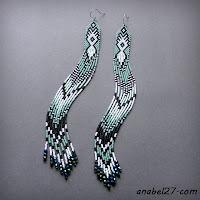 купить очень длинные серьги из бисера с бахромой