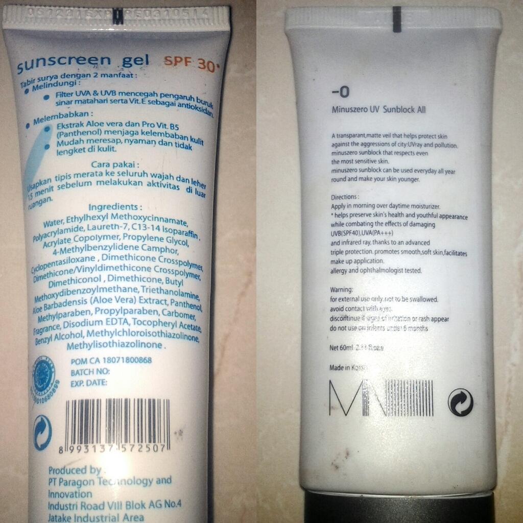 Review Sunblock MinusZero SPF 40 Vs Wardah Sunscreen