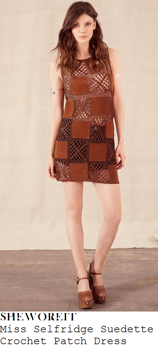 karis-anderson-tan-crochet-patch-suede-dress-stooshe