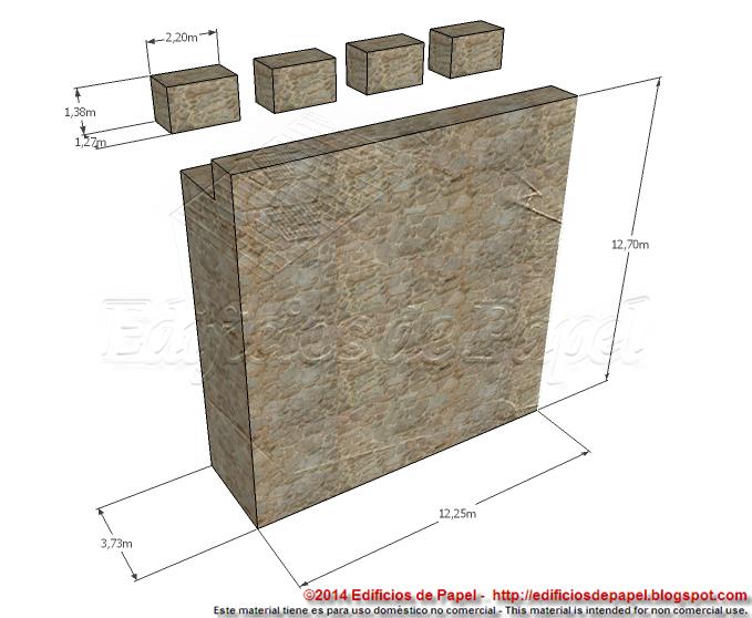 Wall segment and battlements