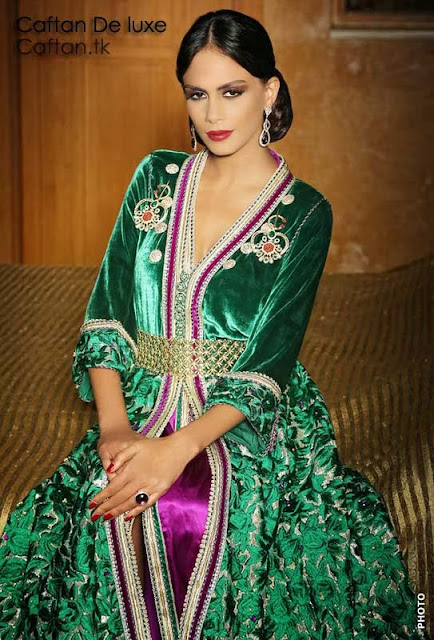 Caftan marocain vert  haute couture 2014