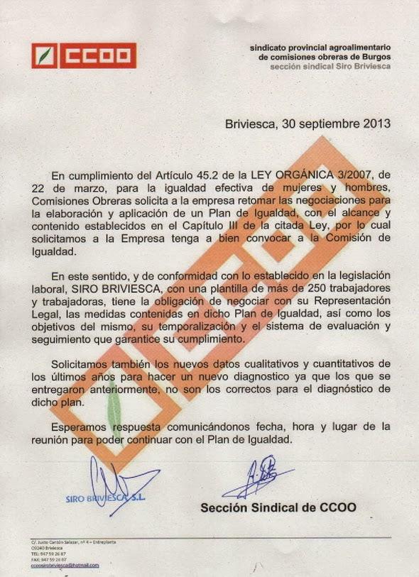 CCOO - Cerealto Briviesca - CCOO: PLAN DE IGUALDAD