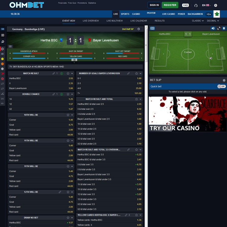 Ohmbet Live Betting Offers