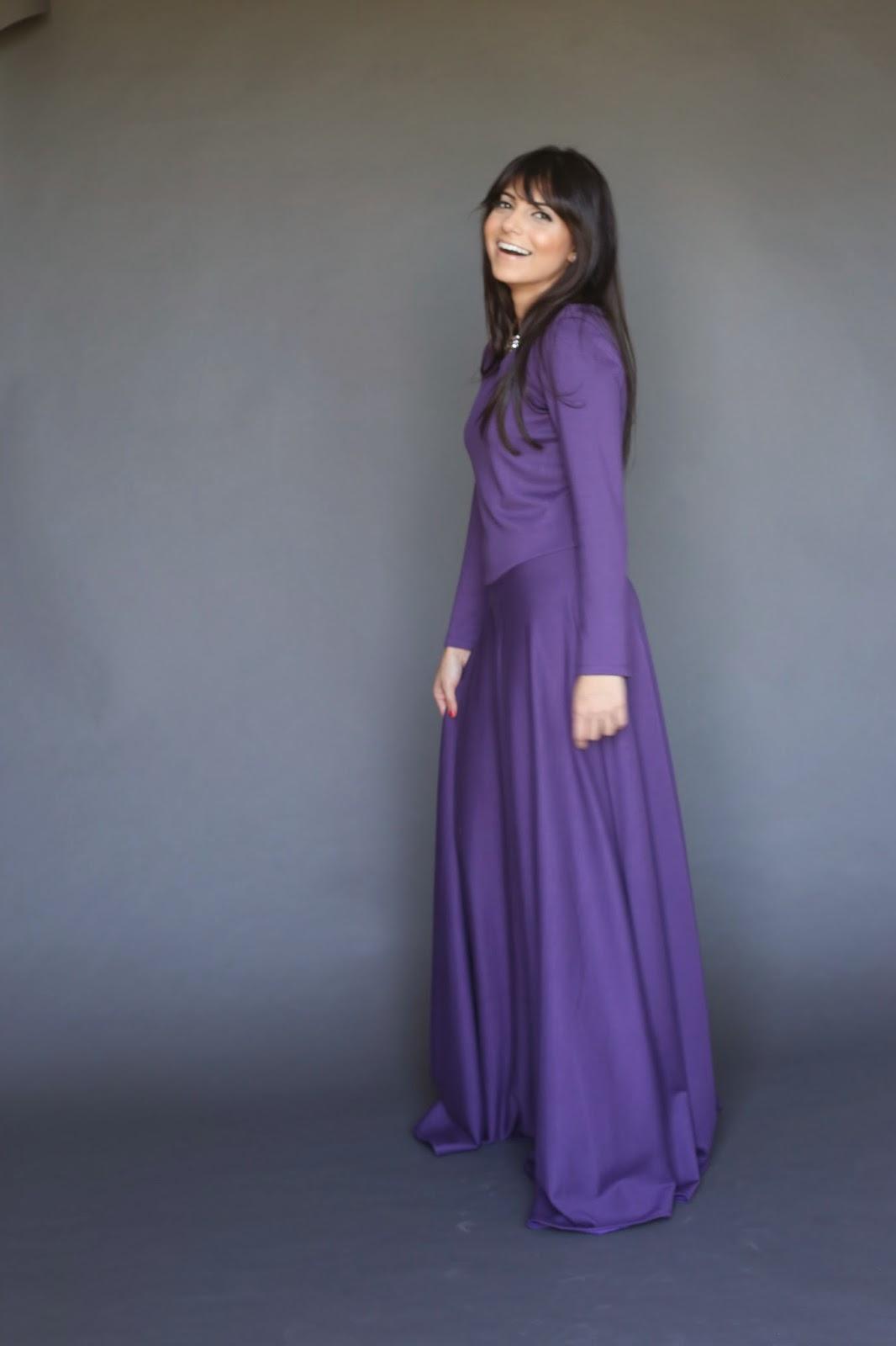 royal purple long sleeve modest maxi dress with full skirt full length formal dress hijab tznius mormon mission Mode-sty