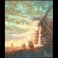 Иван КРУТОЯРОВ. Повелители веторов. Пейзаж, ветряные мельницы, закат, пастозная живопись, текстурная живопись, фактурная живопись, современная живопись, импасто, экспрессивный импрессионизм