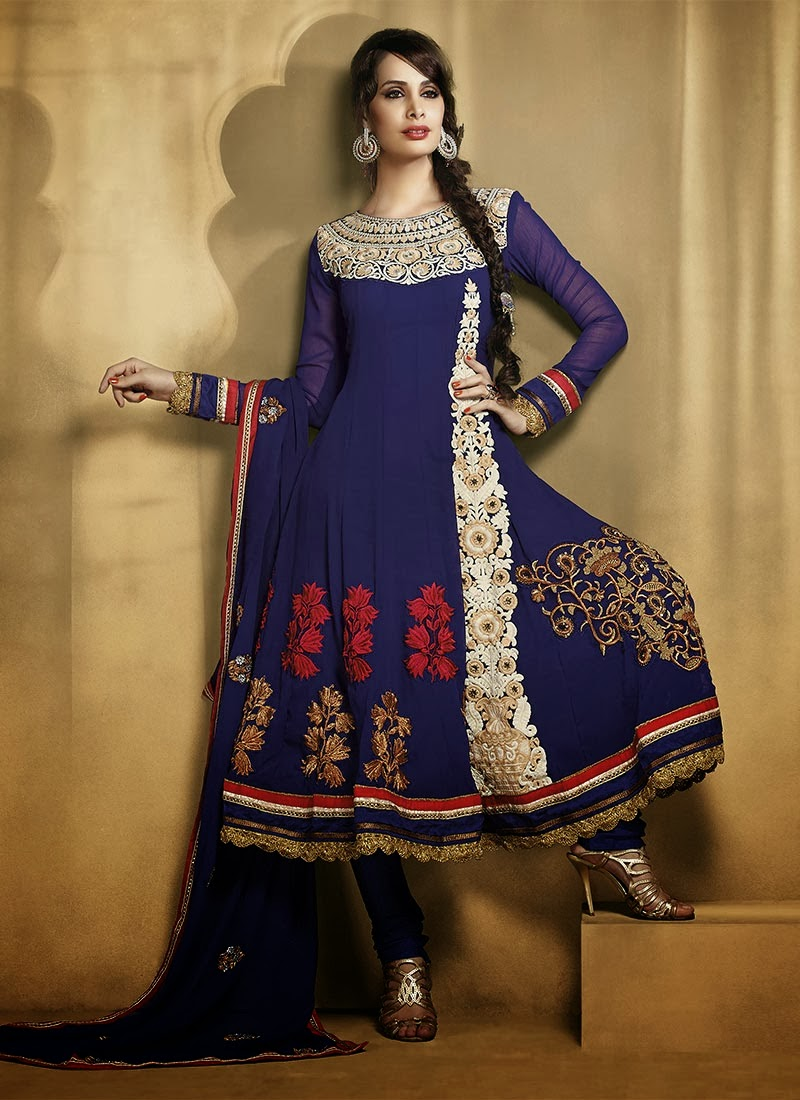 Indian Ankle Length Anarkali Suits Beautiful 2013 14