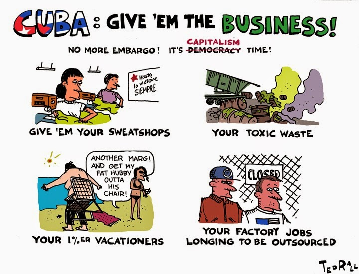 Ted Rall: Cuba - Give 'em the business.