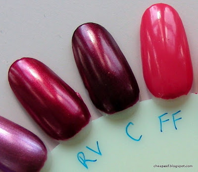 e.l.f. Essential Nail Polish swatches (left to right):  Red Velvet, Cranberry, Flirty Fuchsia