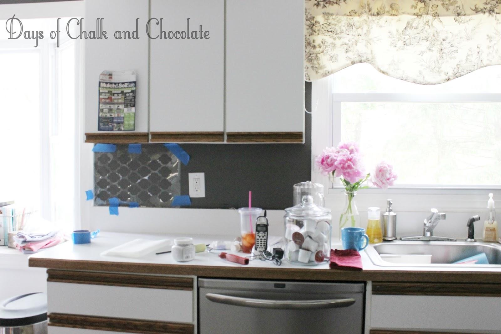 Easy DIY SelfAdhesive Faux Tile Backsplash Days of Chalk and