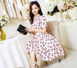 Retro Front Ribbon Red Cherries Print Knee Length Dress