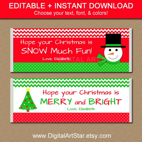 Editable printable Christmas snowman candy bar wrappers