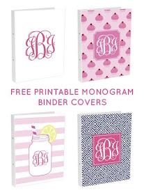 Nifty image within free printable monogram binder covers