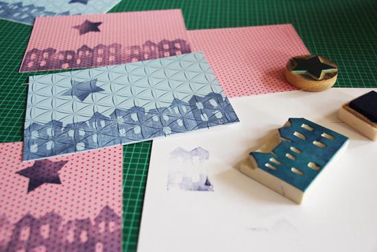 binedoro Blog, DIY, Weihnachtspost, Weihnachtsgrüße, Adventszeit, Tutorial, drucken, stempeln