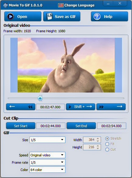 برنامج مجاني لتحويل الفيديوهات الي صور متحركة Movie to Gif